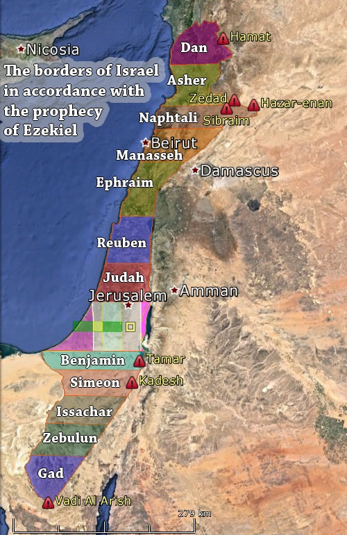 The borders of Israel in accordance with the prophecy of Ezekiel
