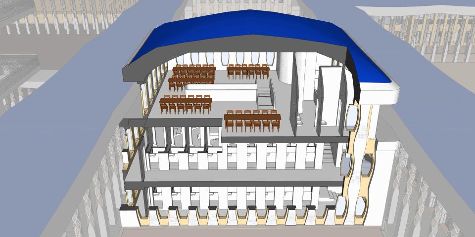 Building for the Kohanim in Ezekiel's Temple.