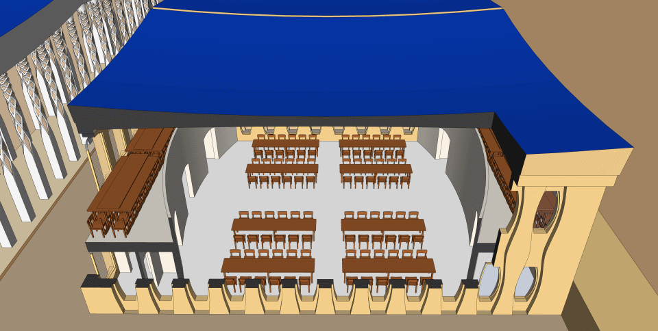 The refectory hall in Ezekiel's Temple.
