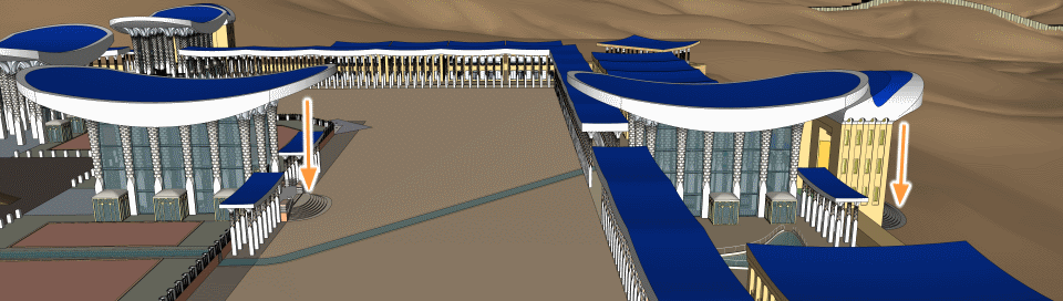 Double roof over the outer gates of Ezekiel's Temple.